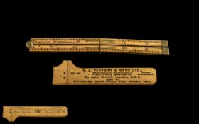 Fine Quality Antique Folding Boxwood Brass Mounted 12 Inch Pocket Ruler - Stamped Prolific