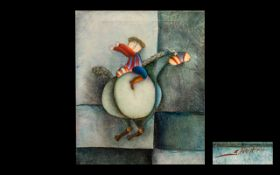 Joyce Roybal (1955 - ) Original Oil Painting on Canvas of a whimsical boy riding a horse,