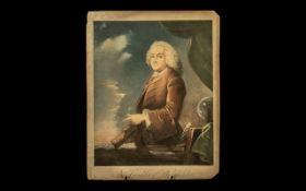 Rare 'Benjamin Franklin of Philadelphia' Early 18thC Coloured Mezzotint Engraving, after B Wilson,