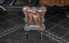 Arts and Crafts Beaten Copper Fire Screen, embossed to the centre with a heron amongst bullrushes,