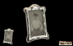 Art Nouveau Style Sterling Silver Photo Frame of Pleasing Design and Form.