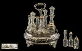 Victorian Period Sterling Silver 7 Piece Condiment Set with Sterling Silver Stand with Vacant