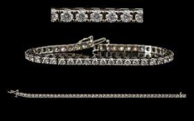 18ct White Gold Excellent Quality Diamond Set Line Bracelet,