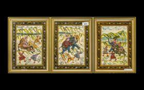 Set of Three Oriental Paintings on Silk depicting hunting scenes,