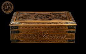 Antique Chinese Carved Sandalwood Lidded Box,