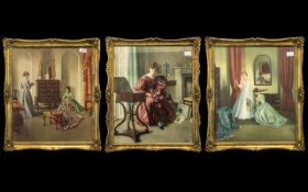 Set of Three Gilt Framed Prints by L Campbell-Taylor (1874-1969). Depicting 'Her First Ball' two