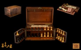 Mid 19th Century - Burr Walnut Games Compendium Cabinet Box with Fitted Interior / Compartments.