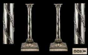 Walker and Hall Magnificent and Impressive Pair of Candlesticks of classical design and form. Each