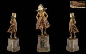Art Nouveau - Excellent Quality Signed and Cold Painted Bronze and Ivory Figure of a Young Dutch