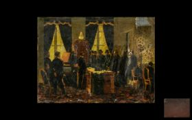 Antique Painted Print Laid on a Tin Panel depicting soldiers, dignitaries and politicians, in a room