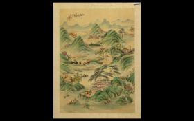 Chinese Painting on Silk of a Mountainous River Landscape with figures; fully signed,