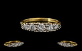 18ct Yellow Gold - Attractive 5 Stone Diamond Set Ring, Gallery Setting. Fully Hallmarked for