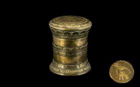 An Antique Oriental Cast Brass Round Lid