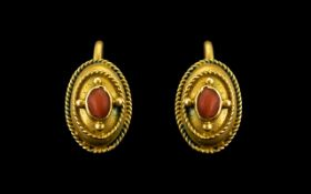 Victorian 18ct Gold Earrings. Antique Ea