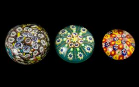 Millefiori Paper Weights ( 3 ) In Total.