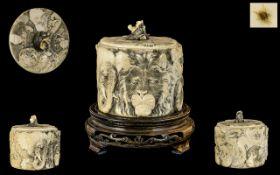 Japanese Meiji Period Carved Ivory Lidde