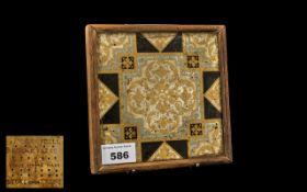 Pugin Style Encaustic Tile with floral d