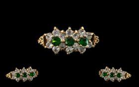 9ct Gold Gem Set Ring. Antique / Vintage