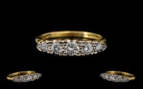18ct Yellow Gold - Attractive 5 Stone Di