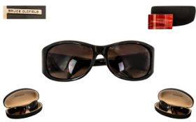 Bruce Oldfield Vintage Sunglasses with black colourway and silver mount, No.