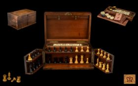Mid 19th Century -Staunton Chess Set & Burr Walnut Games Compendium Cabinet Box with Fitted