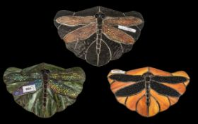 """Set of Three Tiffany Type Leaded Glass Panes, in the shape of dragonflies. 10"""" wide, 7"""" deep."""