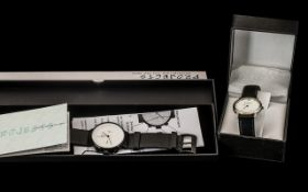 Time Chain Designer Watch in original box on black leather strap,