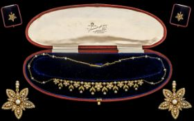 Antique Period Stunning Quality 18ct Gold Seed Pearl Set Necklace of wonderful ornate craftsmanship