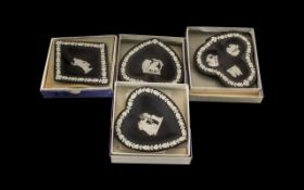 Wedgwood Black Jasper Card Suite Four Round Dishes all in original boxes and in excellent condition.