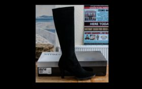 Ladies Boots - Aquatalia Black Suede Knee High Boots with side zip, rrp £395,