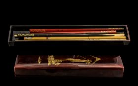 Chinese Lacquered Chopstick Case with numerous different chopsticks inside; 10.