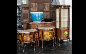 A Suite of Three Pieces of Reproduction Furniture, including two marble top commodes with decorative