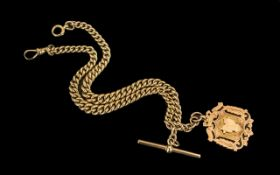 Victorian Period Superb 9ct Gold Double Albert Watch Chain with attached 9ct gold medallion and