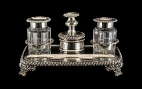 Antique Sheffield Plate Inkwell Stand circa 1820's with two shaped glass ink well bottles one for