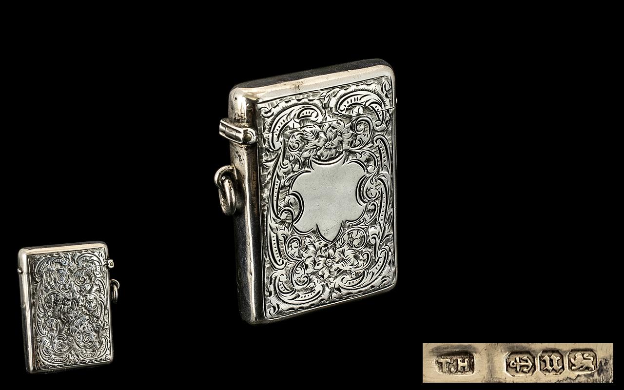 Lot 341 - Victorian Large & Impressive Vesta Case. Vesta case dated Birmingham 1894, maker T H. Large size 6