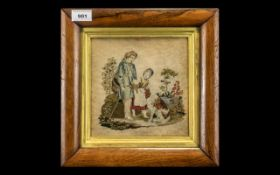 19thC Wool Sampler Figures With Dog, 7½ x 7½ Inches, Gilt Mount, Glazed,