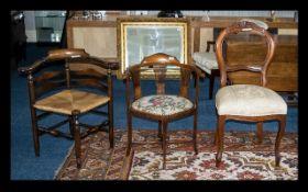 Edwardian Inlaid Corner Chair,