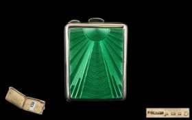 Art Deco Period Wonderful Quality Silver & Guilloche Enamel Hinged Ladies Small Case.