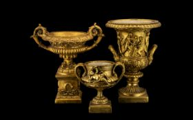 Three Gilded Floral Display Urns, in the Classical manner, after the Medici designs; 20thC; 14.