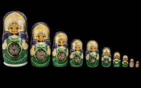 Russian Fine Set of Ten Hand Painted Graduated Dolls - Matryoshka Dolls the tallest measuring 12