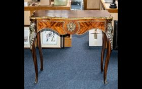 20th Century French Style Kingwood Side Hall Table on shaped cabriole ormalu mounted legs,