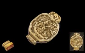 Chinese Ching Dynasty Antique Ivory Double Seal, in a moon shaped double case of unusual form.