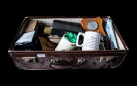 Vintage Brown Suitcase with Ephemera,