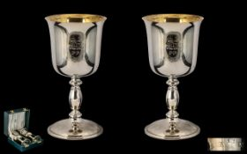 Preston Guild 1972 Sterling Silver Pair of Goblets with guilt interiors.
