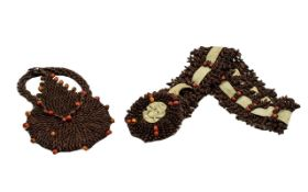 1930s Deco Style Purse made from seeds and dried berries, with matching fastening belt with roundel.