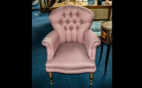 Laura Ashley Type Fabric Covered Ladies Armchair, Victorian style,