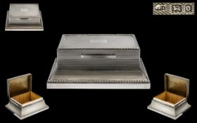 Art Deco Period Sterling Silver Superb Design and Shaped Engine Turned Table Desk Lidded Cigarette