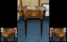 20th Century French Style Kidney Shaped Ladies Side Cabinet, profusely inlaid to the top and sides,