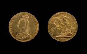United Kingdom Queen Victoria - High Grade 22ct Gold Full Sovereign. Jubilee Head, Melbourne Mint.