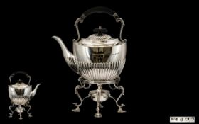 A Superb Quality Early 20th Century Sterling Silver Spirit Kettle and Stand - Excellent Design and